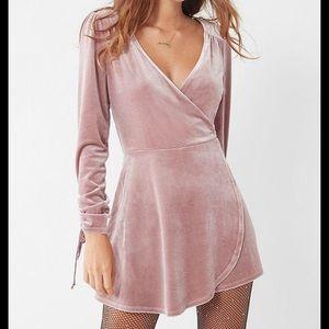Urban Outfitters Light Pink/Mauve Velvet Romper